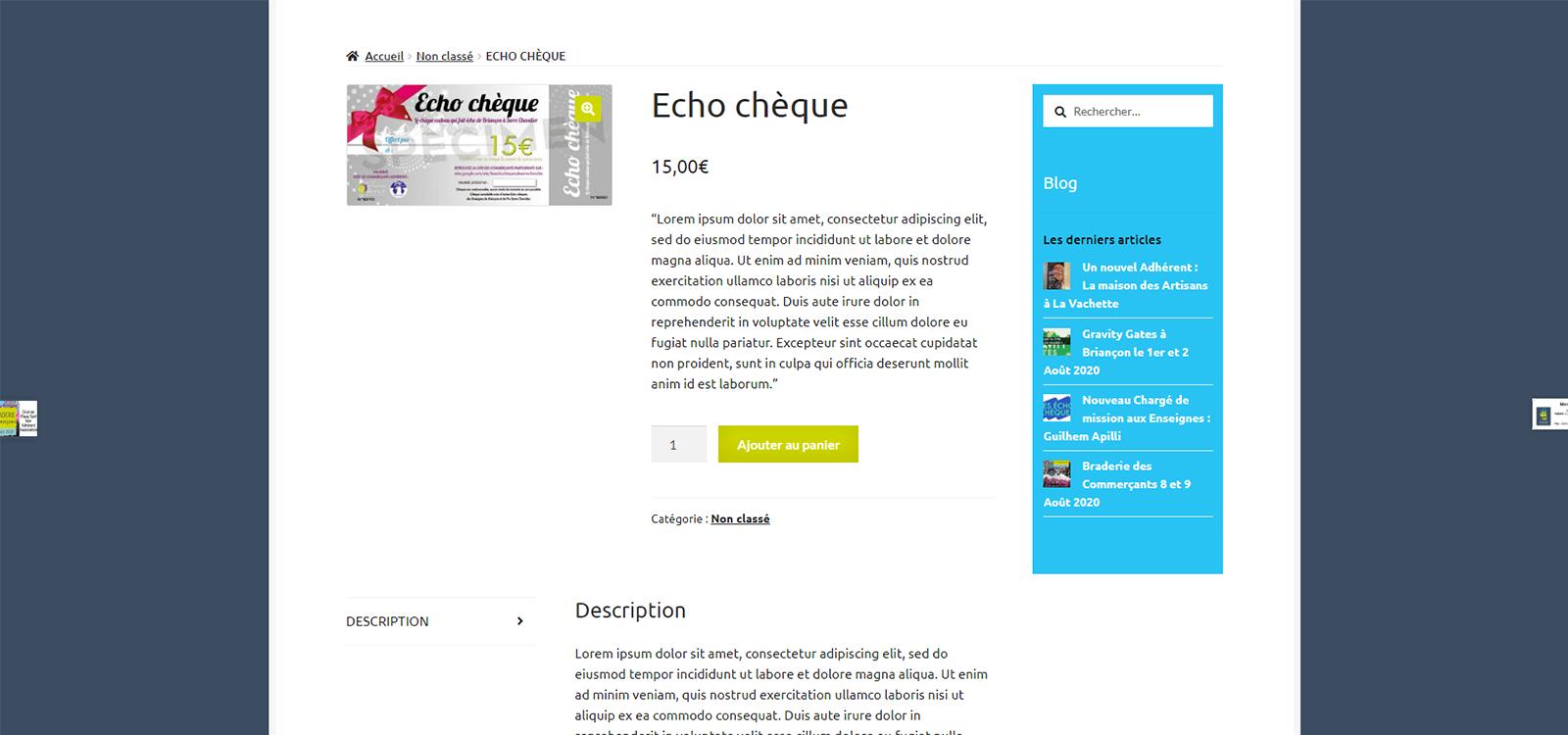 Site e-commerce Les Enseignes de Briancon